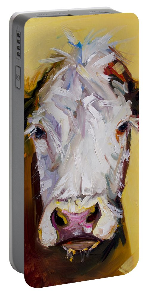 Cow Portable Battery Charger featuring the painting White One by Diane Whitehead