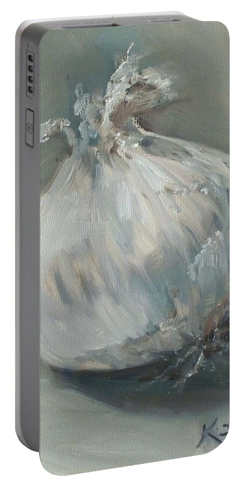 Onion Portable Battery Charger featuring the painting White Onion No. 1 by Kristine Kainer