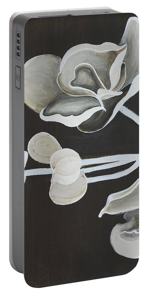 Orchid Portable Battery Charger featuring the painting White Orchid First Section by Catt Kyriacou