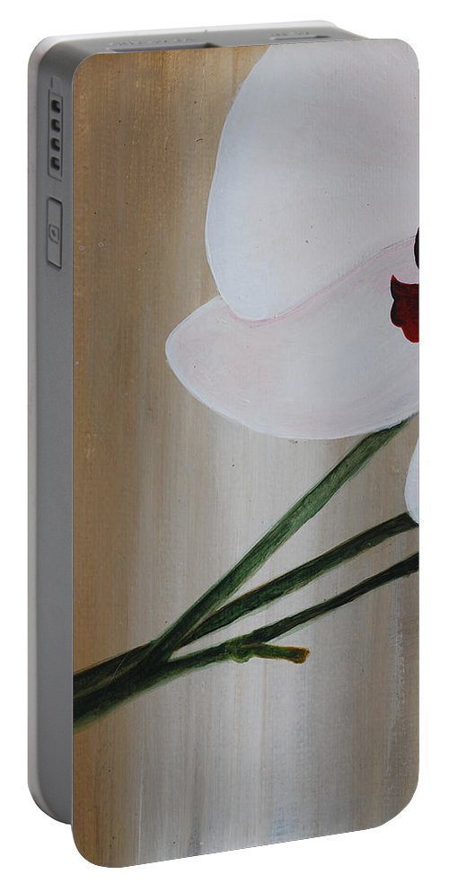 Portable Battery Charger featuring the painting White Orchid Light Background First Section by Catt Kyriacou