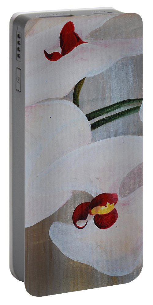 Orchid Portable Battery Charger featuring the painting White Orchid Light Background Middle Section by Catt Kyriacou