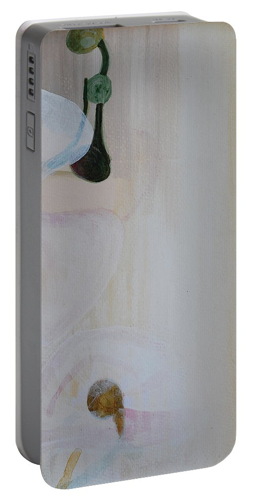 Orchid Portable Battery Charger featuring the painting White Orchid Light Background Third Section by Catt Kyriacou