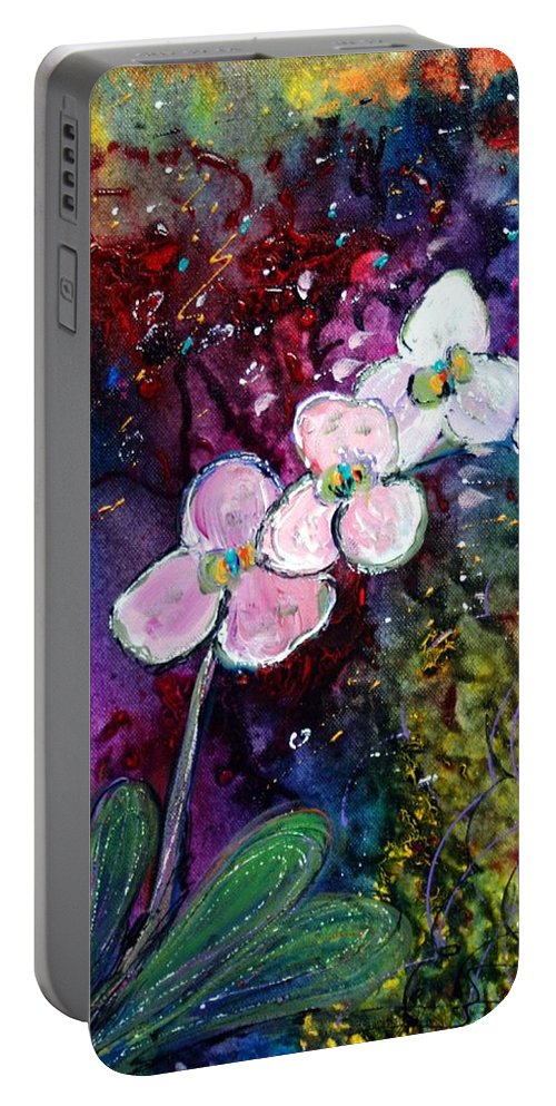 Flowers Portable Battery Charger featuring the painting White Orchid by Luiza Vizoli
