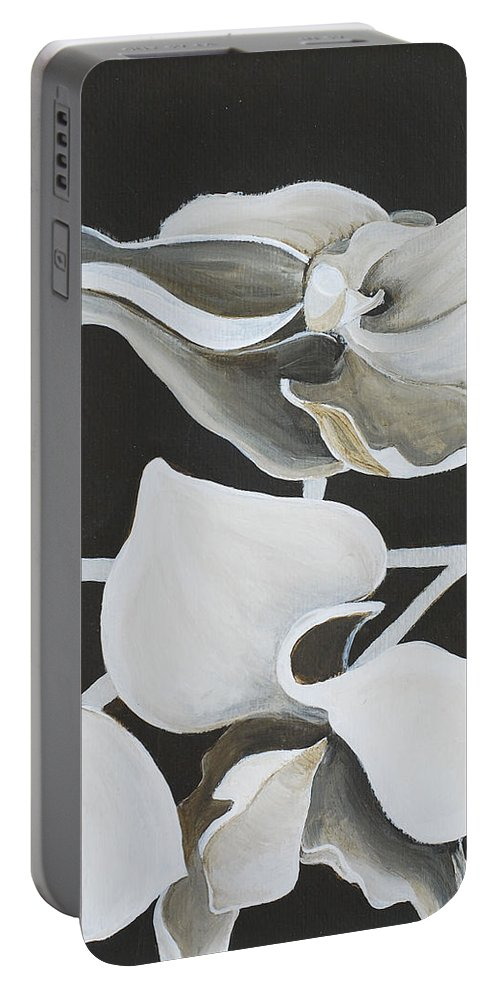 Orchid Portable Battery Charger featuring the painting White Orchid Middle Section by Catt Kyriacou