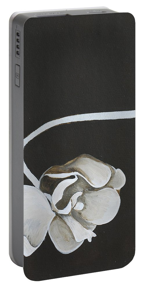 Orchid Portable Battery Charger featuring the painting White Orchid Third Section by Catt Kyriacou