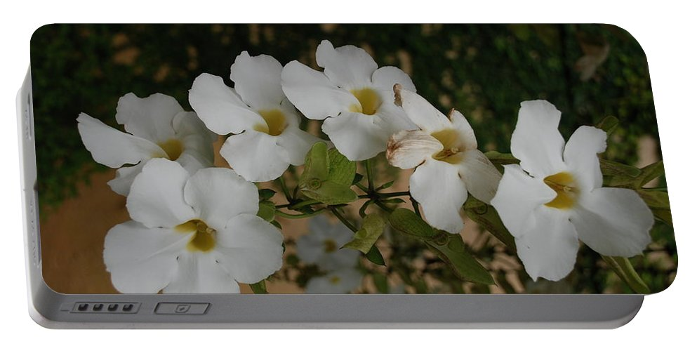 Macro Portable Battery Charger featuring the photograph White Orchids by Rob Hans