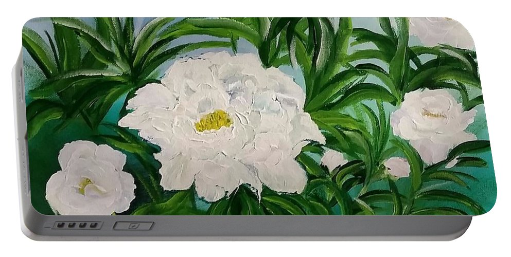 Floral Portable Battery Charger featuring the painting White Peonies by Jacqueline Whitcomb