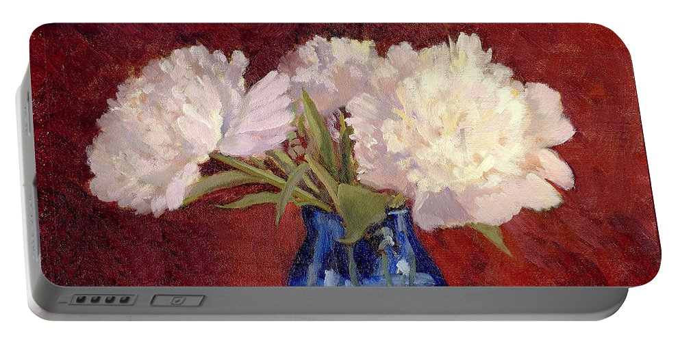 Peonies Portable Battery Charger featuring the painting White Peonies by Keith Burgess