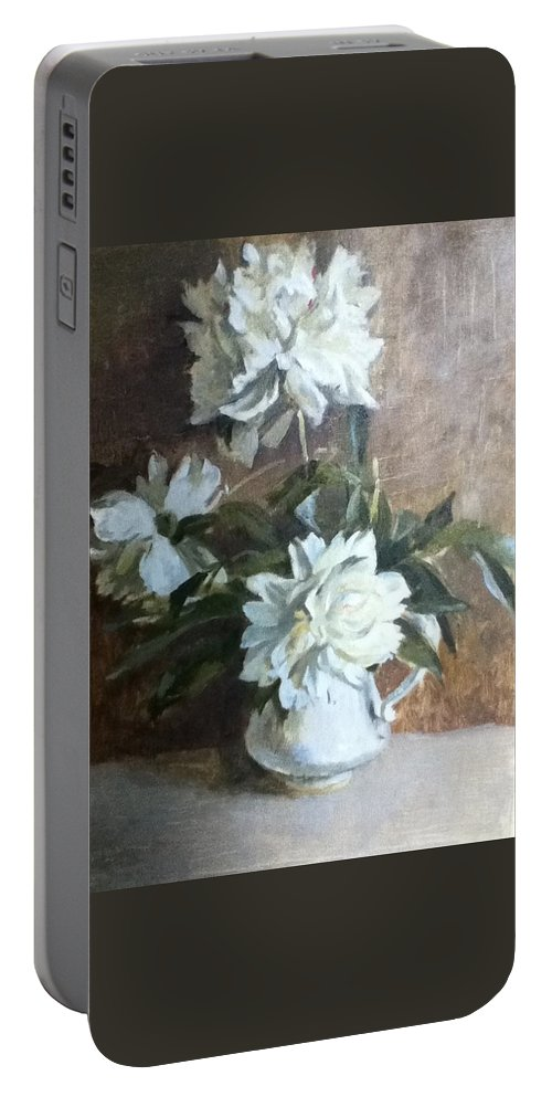 White Peonies Portable Battery Charger featuring the painting White Peonies by Tanya Balaeva