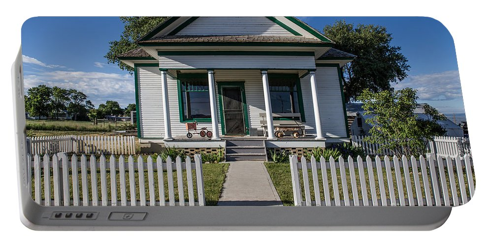 White Picket Fence Portable Battery Charger featuring the photograph White Picket Fence by Lynn Sprowl