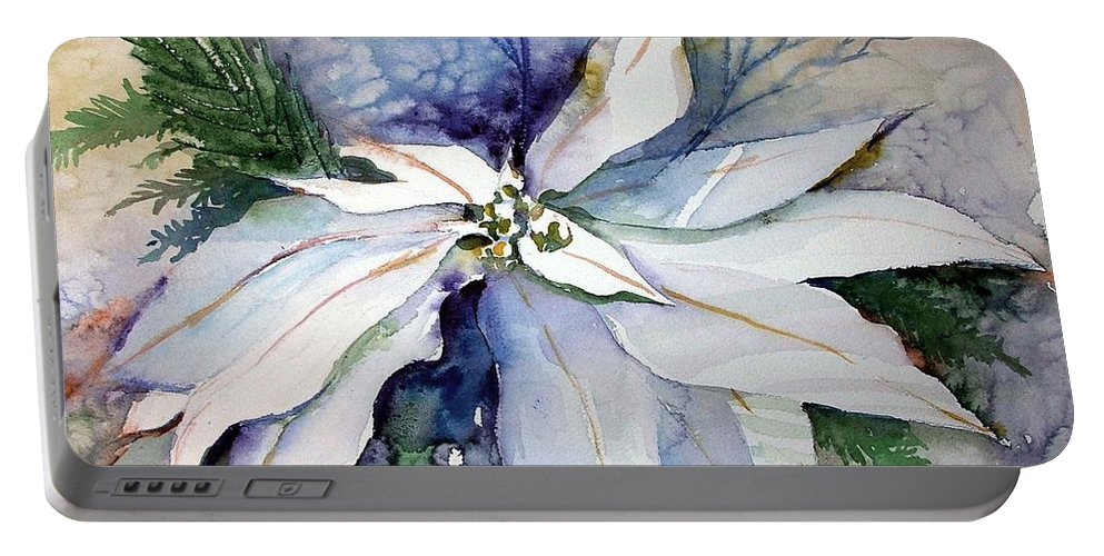 Floral Portable Battery Charger featuring the painting White Poinsettia by Mindy Newman