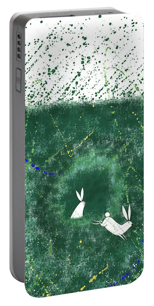 Rabbits Portable Battery Charger featuring the mixed media White Rabbits by Andrew Hitchen