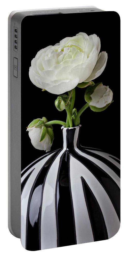 White Portable Battery Charger featuring the photograph White Ranunculus In Black And White Vase by Garry Gay