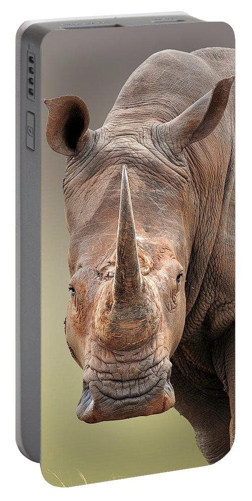 Square-lipped Portable Battery Charger featuring the photograph White Rhinoceros portrait by Johan Swanepoel