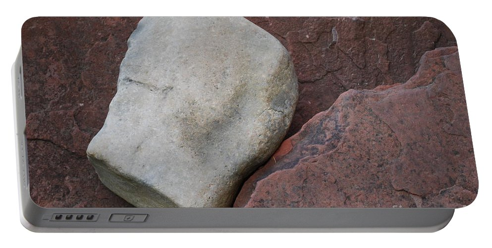 Color Portable Battery Charger featuring the photograph White Rock On Red Rock Number 1 by Heather Kirk