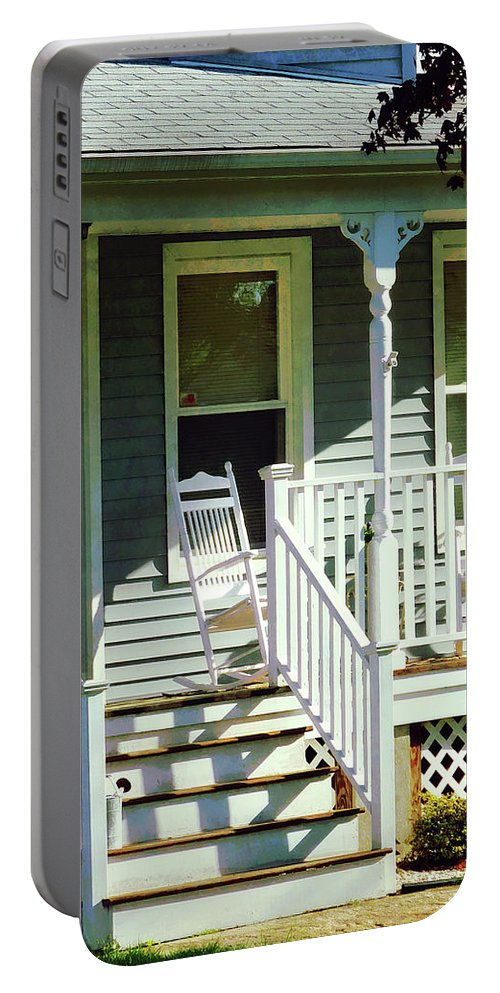 Porch Portable Battery Charger featuring the photograph White Rocking Chairs by Susan Savad