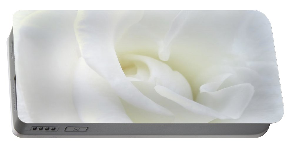 Rose Portable Battery Charger featuring the photograph White Rose Angel Wings by Jennie Marie Schell
