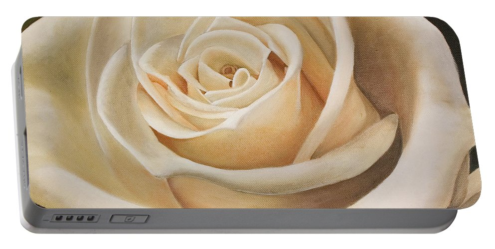 Flower Portable Battery Charger featuring the painting White Rose by Rob De Vries