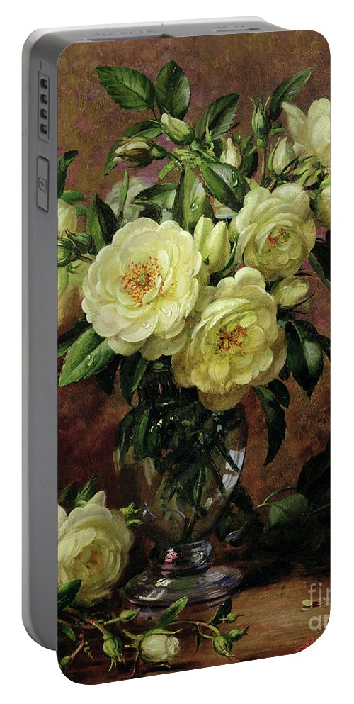 Rose; Still Life; Flower; Arrangement; Vase; Floral; Sentimental; Symbolic; Roses; White Roses; White Roses On The Floor; White Petals On The Floor Portable Battery Charger featuring the painting White Roses - A Gift From The Heart by Albert Williams