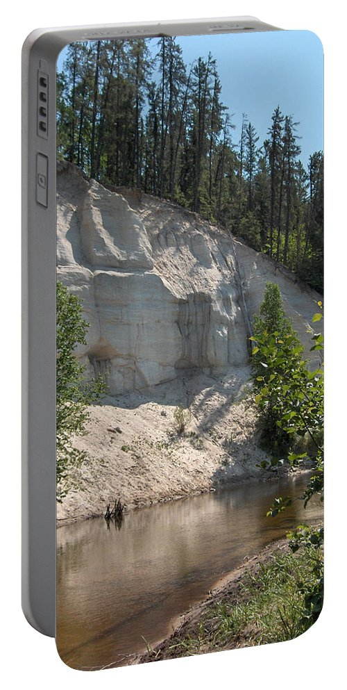 River Sand Cliffs Clear Water Evergreens Trees Natural Beauty Shore Piprell Lake Saskatchewan Portable Battery Charger featuring the photograph White Sands Cliff by Andrea Lawrence