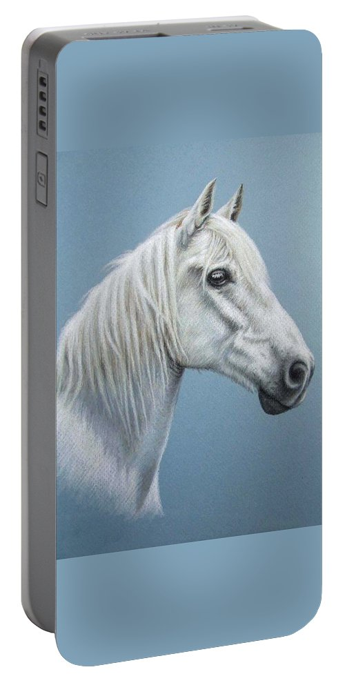 Horse Stallion White Pferd Portrait Animal Realism Pastel Portable Battery Charger featuring the pastel White Stallion by Nicole Zeug
