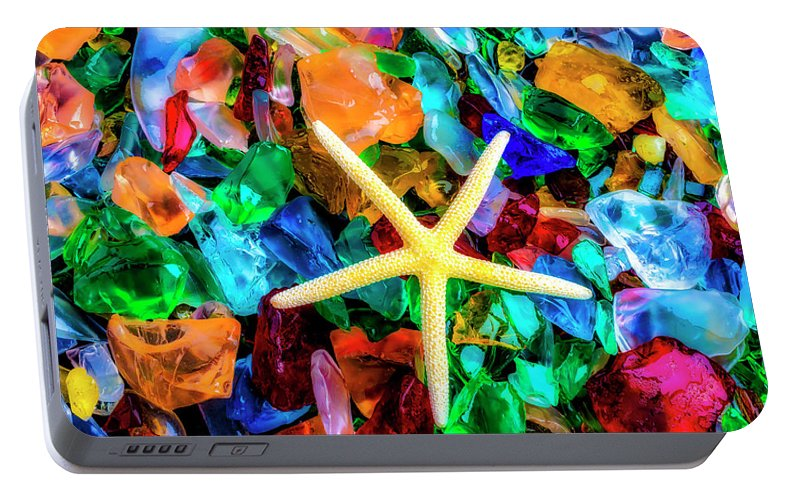 Colorfull Portable Battery Charger featuring the photograph White Starfish On Sea Glass by Garry Gay