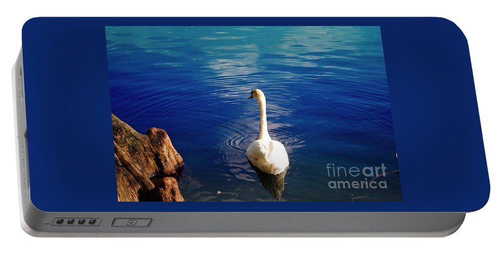 White Portable Battery Charger featuring the photograph White Swan by Jost Houk