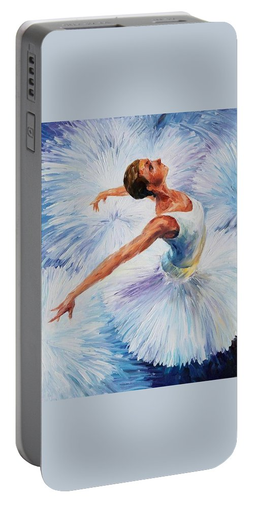 Afremov Portable Battery Charger featuring the painting White Swan by Leonid Afremov