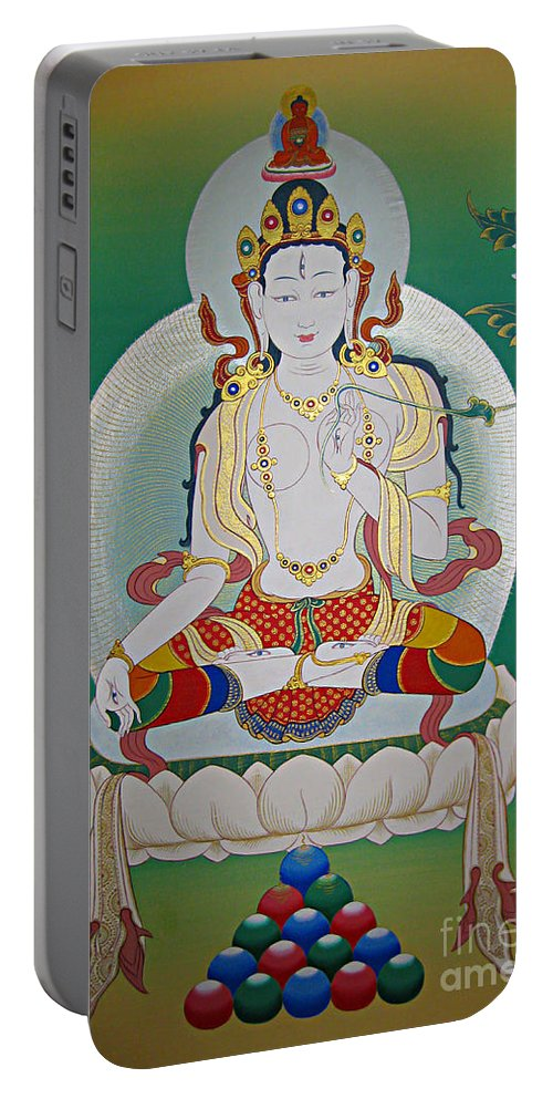 Thangka Portable Battery Charger featuring the painting White Tara by Sergey Noskov
