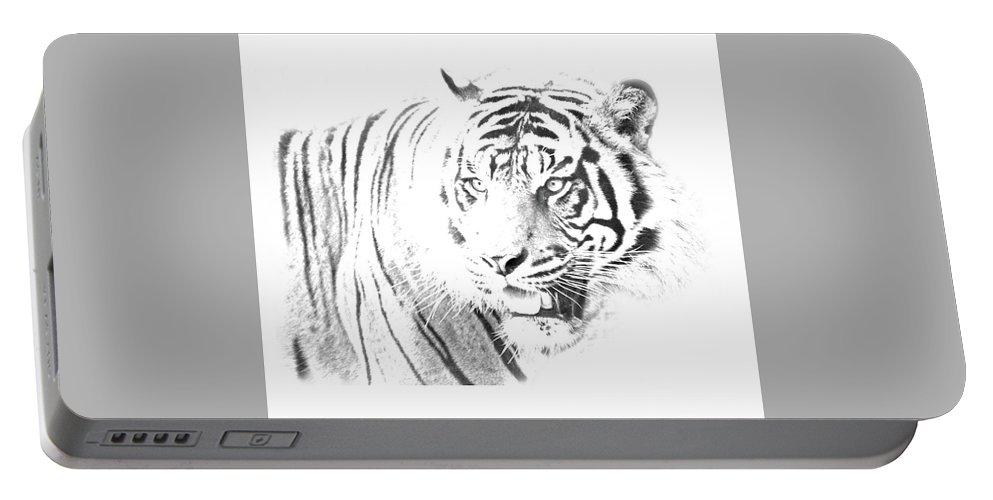 Tiger Portable Battery Charger featuring the digital art White Tiger by Cindy Kim