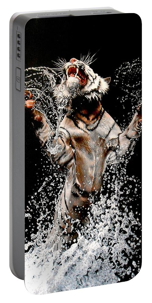 Tiger Portable Battery Charger featuring the painting White Tiger Jumping In Water by Susana Falconi