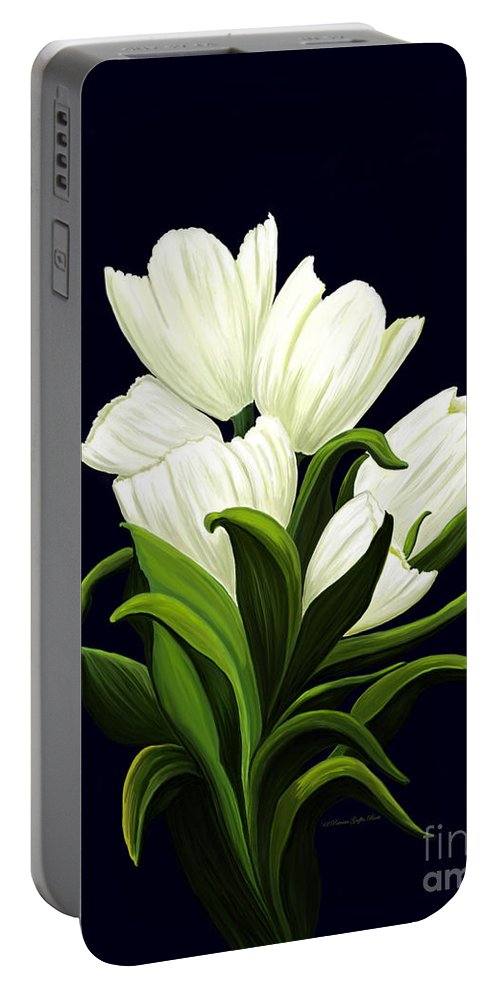 Mixed Media Portable Battery Charger featuring the painting White Tulips by Patricia Griffin Brett