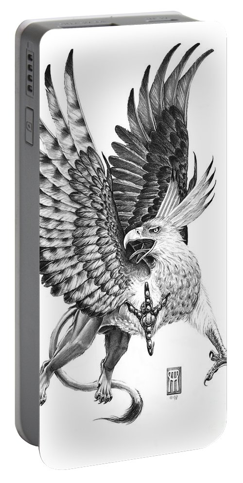 Mythology Portable Battery Charger featuring the drawing Whitehead Griffin by Melissa A Benson