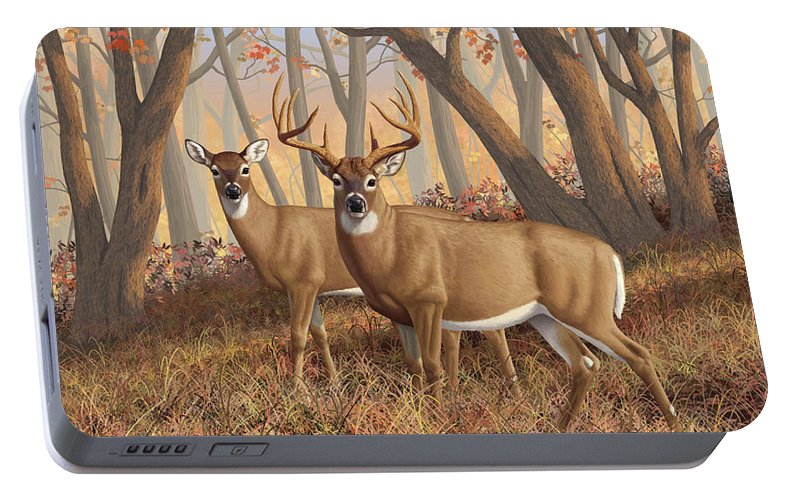 Deers Portable Battery Charger featuring the digital art Whitetail Deer Painting - Fall Flame by Crista Forest