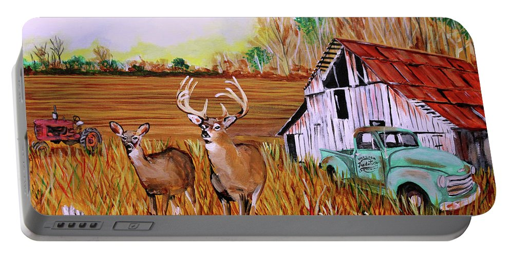 Whitetail Deer Portable Battery Charger featuring the painting Whitetail Deer With Truck And Barn by Karl Wagner