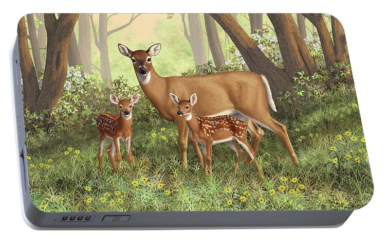 Whitetail Deer Portable Battery Charger featuring the painting Whitetail Doe And Fawns - Mom's Little Spring Blossoms by Crista Forest