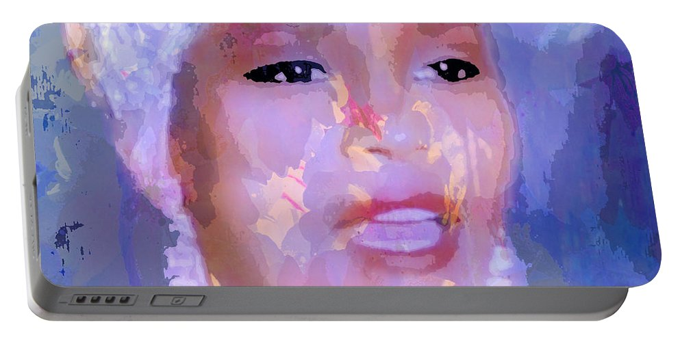 Whitney Portable Battery Charger featuring the painting Whitney by Saundra Myles