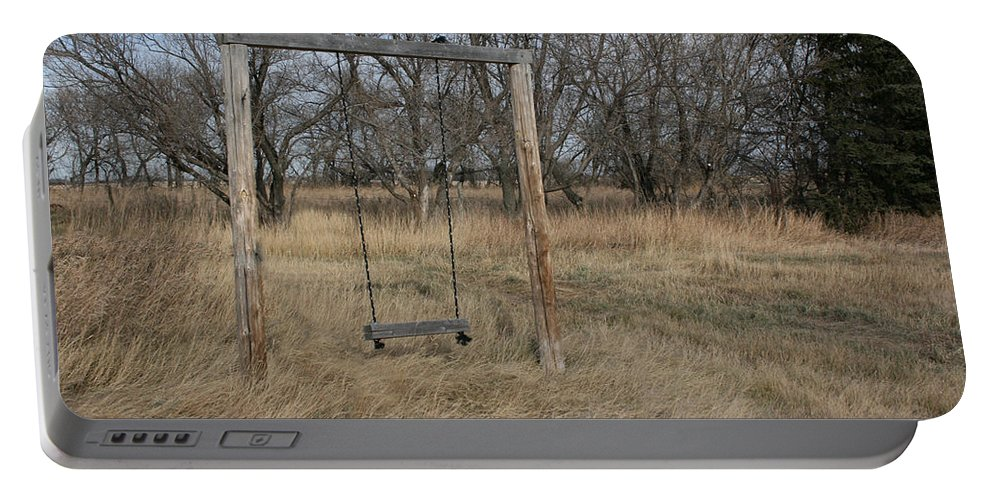 Swing Old Farm Grass Abandoned Trees Playgorund Lost Empty Lonely Portable Battery Charger featuring the photograph Who Played Here by Andrea Lawrence