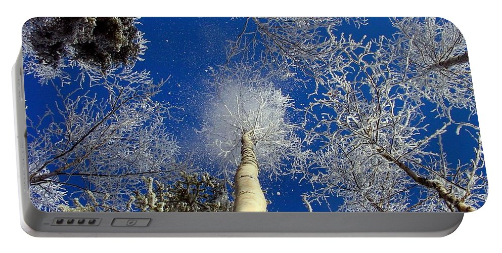 Abstract Portable Battery Charger featuring the photograph Who Shook The Tree by Ron Bissett