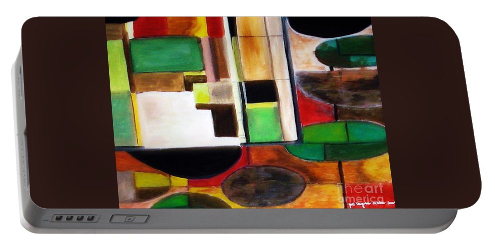 Acrylic Painting Portable Battery Charger featuring the painting Wholeness by Yael VanGruber