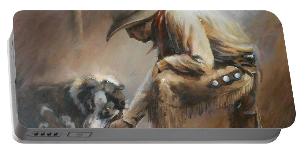 Cowboys Portable Battery Charger featuring the painting Who's Your Daddy by Mia DeLode