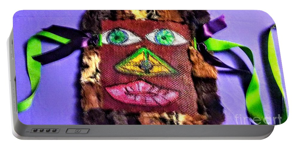Wide Eyed Loup Garou Mardi Gras Screen Mask Portable Battery Charger featuring the mixed media Wide Eyed Loup Garou Mardi Gras Screen Mask by Seaux-N-Seau Soileau