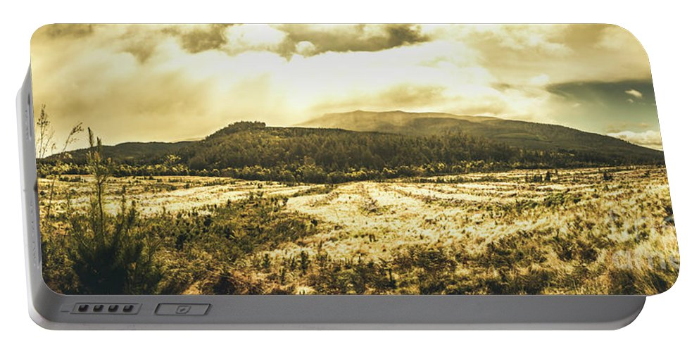 Panoramic Portable Battery Charger featuring the photograph Wide Open Tasmania Countryside by Jorgo Photography - Wall Art Gallery