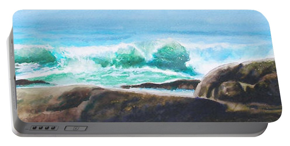 Seascape Portable Battery Charger featuring the painting Widescreen Wave by Ken Meyer