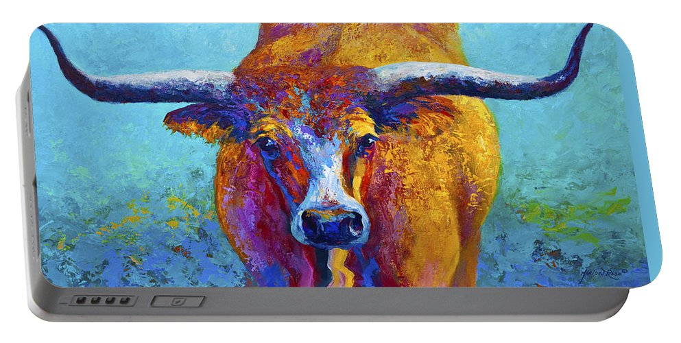 Western Paintings Portable Battery Charger featuring the painting Widespread - Texas Longhorn by Marion Rose