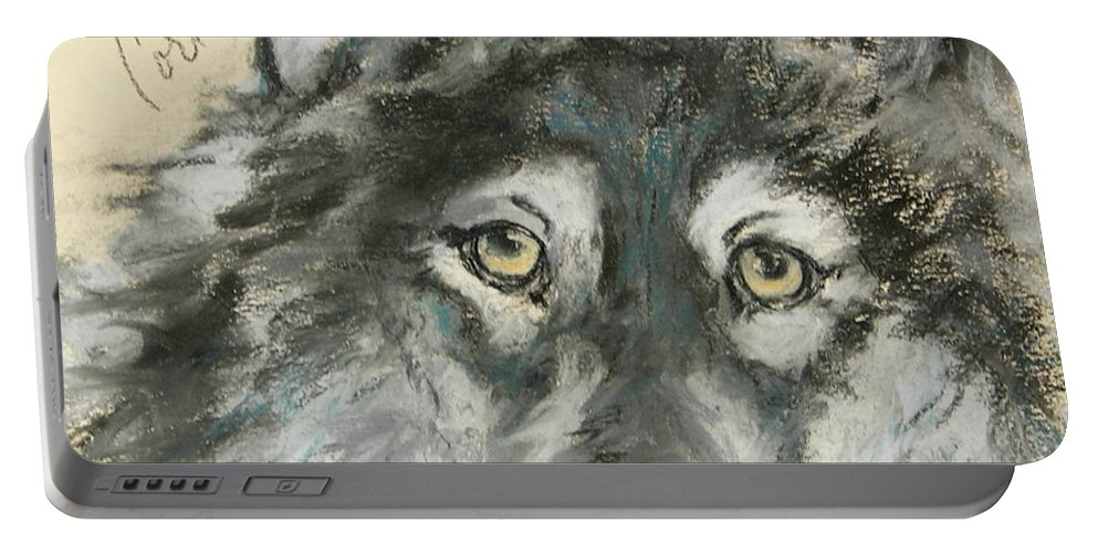 Wolf Portable Battery Charger featuring the drawing Wild At Heart by Cori Solomon