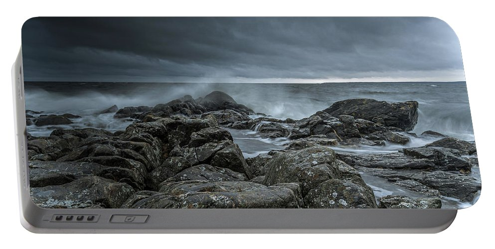 Wild Autumn Storm Portable Battery Charger featuring the photograph Wild Baltic Sea by Mikael Jenei