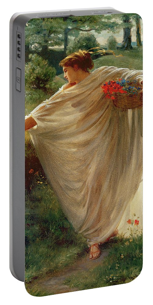 Wild Portable Battery Charger featuring the painting Wild Blossoms by Sir Edward John Poynter