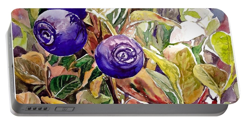 Wild Blueberries Portable Battery Charger featuring the painting Wild Blueberries by Suzann Sines