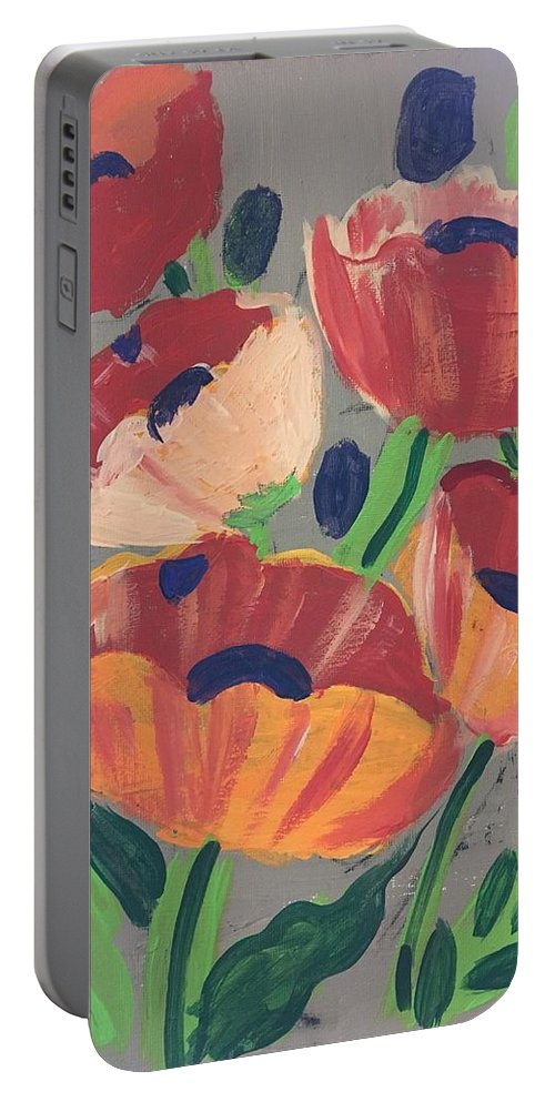 Easterseals Southwest Florida Portable Battery Charger featuring the painting Wild Bouquet by Denise M